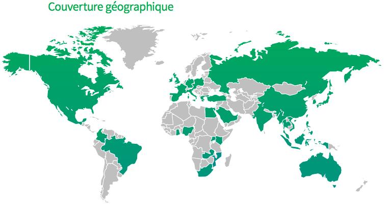 Couverture géographique des indices PMI de Markit